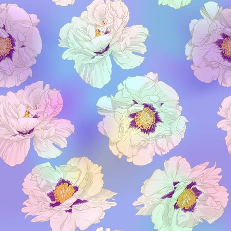 White peony flowers. Seamless pattern, background. Colored vector illustration. In botanical style In light ultra violet pastel colors on mesh pink, blue background