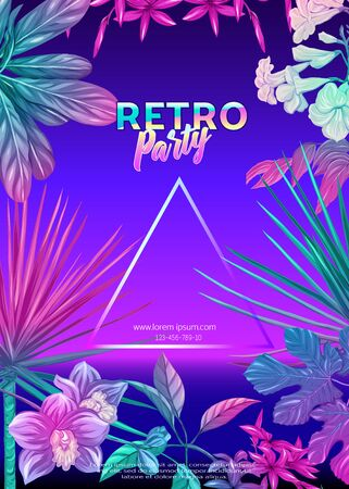 ..Retro Futurism. Vector futuristic synth wave illustration. Rave party Flyer design template, background with tropical plants in 1980s style. 80s Retro poster, retrowave 일러스트