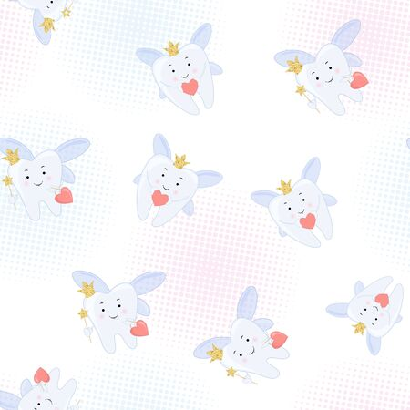 Tooth fairy Vector cartoon illustration. Stylized tooth Seamless pattern, background. Illustration