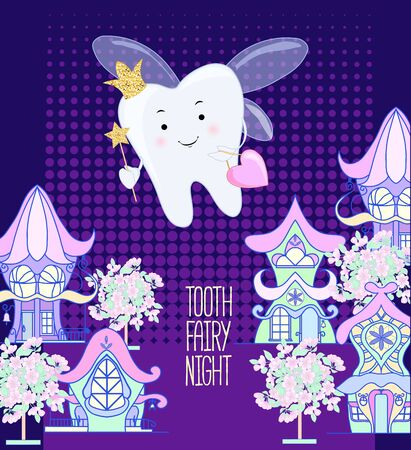 Tooth fairy. Vector cartoon illustration. Stylized tooth. Night fabulous city on the background