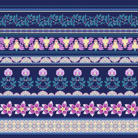 Seamless pattern with stylized ornamental flowers in retro, vintage style. Jacobean embroidery. Colored vector illustration In pink, blue, ultraviolet colors. On navy blue background. Ilustrace