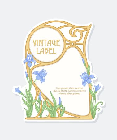 Iris flower. Label, frame, border. Good for product label. with place for text. Vector illustration. In art nouveau style, vintage, old, retro style. Isolated on white.. Banco de Imagens - 133736774