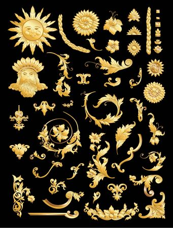 Elements In baroque, rococo victorian renaissance style. Trendy floral vintage pattern. Vector illustration