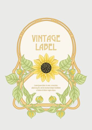 Sunflower. Label, decorative frame, border. Good for product label. with place for text Colored vector illustration. In art nouveau style, vintage, old, retro style. Isolated on white background.. Banco de Imagens - 133736794