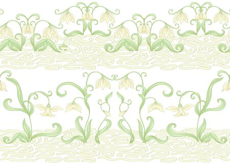 Galanthus, snowdrop, nivalis. Seamless pattern, background. Colored vector illustration. In art nouveau style, vintage, old retro style Isolated on white background