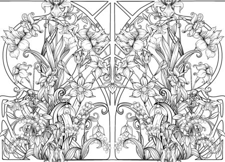 Spring flowers seamless pattern, background. Outline hand drawing vector illustration. In art nouveau style, vintage, old, retro style.. 向量圖像