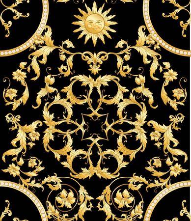 Patrón sin fisuras en estilo barroco, rococó, victoriano, renacentista. Patrón vintage floral de moda. Ilustración vectorial.