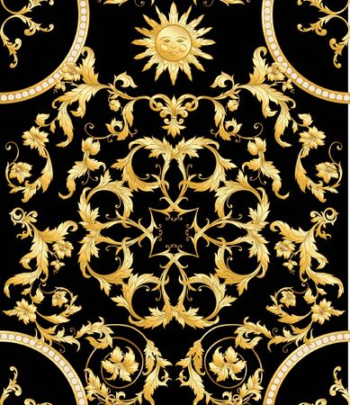 Seamless pattern in baroque, rococo, victorian, renaissance style. Trendy floral vintage pattern. Vector illustration.