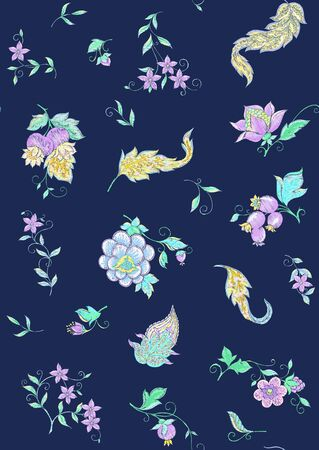 Fantasy flowers, traditional Jacobean embroidery style. Seamless pattern, background. Embroidery imitation. Vector illustration in neon colors on space blue background.. Ilustrace