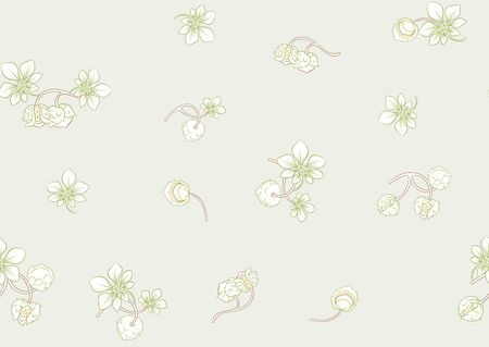 Hazelnut. Decorative motif. Seamless pattern, background. Colored vector illustration In art nouveau style, vintage, old retro style. On soft green background 일러스트