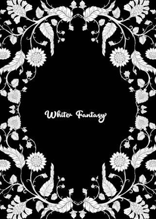 Indiase etnische patroon met gestileerde florwers... Vectorillustratie in zwart-wit afbeelding. . Vector Illustratie