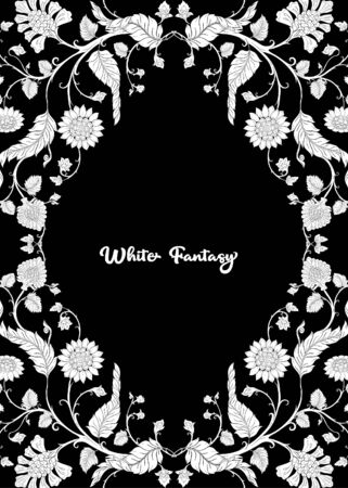 Indian ethnic pattern with stylized florwers..Vector illustration in black and white graphic. . Illustration