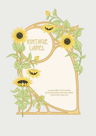 Sunflower. Label, decorative frame, border. Good for product label. with place for text Colored vector illustration. In art nouveau style, vintage, old, retro style. Isolated on white background.. Ilustração