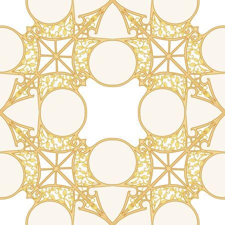 Motivo decorativo, marcos, cenefas. Patrón sin costuras, fondo. Ilustración de vector de color. En estilo art nouveau, estilo vintage, antiguo, retro. En colores beige vintage aislado sobre fondo blanco. Ilustración de vector