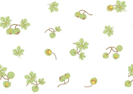 Hazelnut. Decorative motif. Seamless pattern, background. Colored vector illustration. In art nouveau style vintage, old retro style Isolated on white background