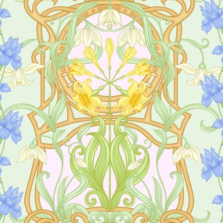 Spring flowers seamless pattern, background. Colored vector illustration. In art nouveau style, vintage, old, retro style. On tea green and pink background. 向量圖像
