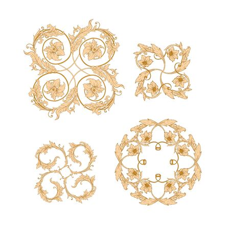 Elements In baroque, rococo, victorian, renaissance style. Trendy floral vintage pattern. Vector illustration.