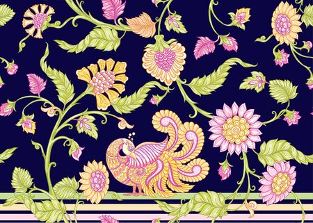 Seamless Indian floral ethnic pattern with bird. Colored vector illustration. On navy blue background.