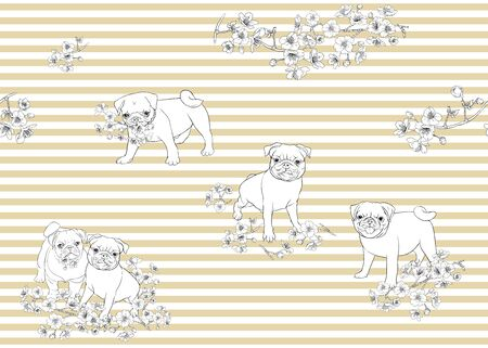 Seamless pattern with Pug dogs with blooming sakura spring flowers. Vector illustration. Outline hand drawing. On beige and white stripes background. Ilustracja