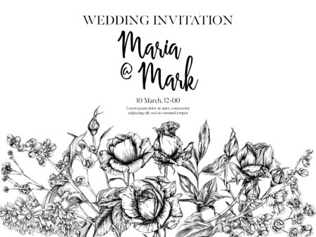 Wedding invitation with roses and spring flowers. Graphic drawing, engraving style. Vector illustration. In white and black color.