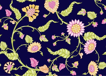 Seamless Indian floral ethnic pattern. Colored vector illustration. On navy blue background. Ilustrace