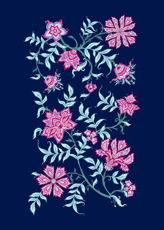 Elemento a motivo etnico in stile kalamkari, fantasia floreale. Illustrazione vettoriale colorata.