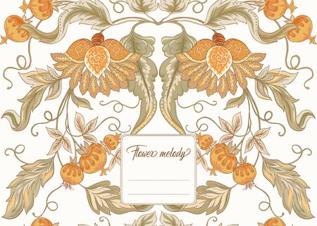Stylized ornamental flowers in retro, vintage Jacobin embroidery style. Template for cover of notebook, label for product, gift voucher with place for text. Vector illustration.