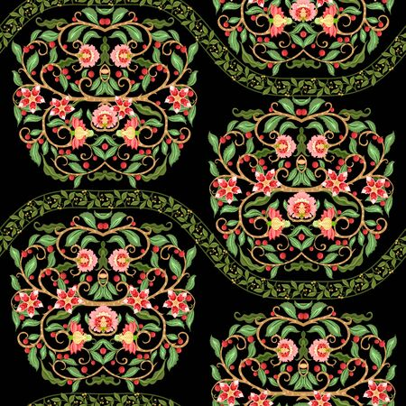 Seamless pattern with stylized ornamental flowers In soft orange and green colors. Jacobean embroidery. Colored vector illustration In soft orange and green colors. Isolated on black background.  イラスト・ベクター素材