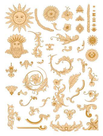 Elements In baroque, rococo, victorian, renaissance style. Trendy floral vintage pattern. Vector illustration.