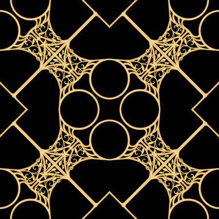 Motivo decorativo, marcos, cenefas. Patrón sin costuras, fondo. Ilustración de vector de color. En estilo art nouveau, estilo vintage, antiguo, retro. En colores beige vintage. Aislado sobre fondo negro.