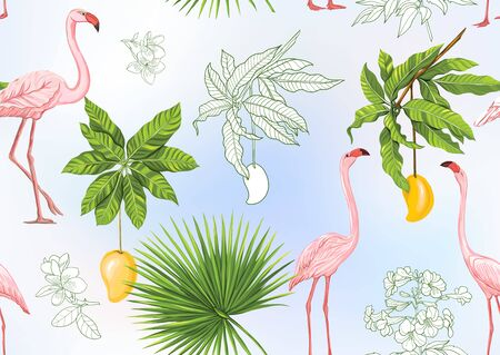 Tropical plants and flowers. Seamless pattern, background. Colored and outline design. Vector illustration. On sky blue background. Stock Illustratie
