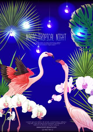 Tropical plants, flowers and birds. Template for night tropical party invitation, greeting card, banner, gift voucher, label. Colored vector illustration..