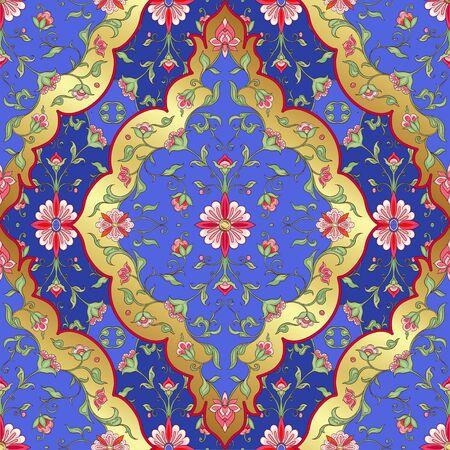 Eastern ethnic motif, traditional muslim ornament. Seamless pattern, background. Vector illustration Illustration
