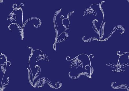 Galanthus, snowdrop. Imitation of traditional Japanese embroidery Sashiko. Spring flowers Seamless pattern, background. Vector illustration On navy blue background