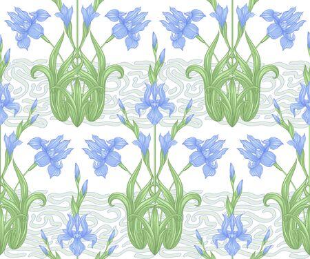 Flor de iris, flor de lis. Patrón sin costuras, fondo. Ilustración de vector de color. En estilo art nouveau, estilo vintage, antiguo, retro. En colores azul y verde. Aislado sobre fondo blanco.