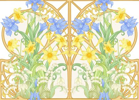 Spring flowers seamless pattern, background. Colored vector illustration. In art nouveau style, vintage, old, retro style. Isolated on white background.. Illustration