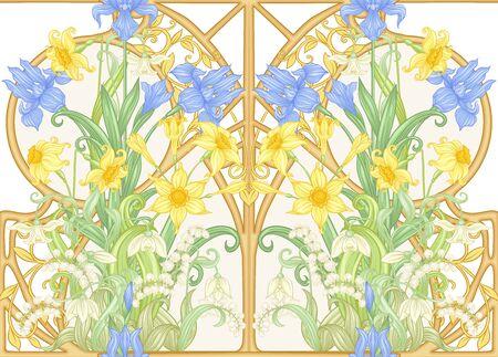 Wiosenne kwiaty wzór, tło. Ilustracja wektorowa kolorowe. W stylu secesyjnym, vintage, starym, retro. Na białym tle...