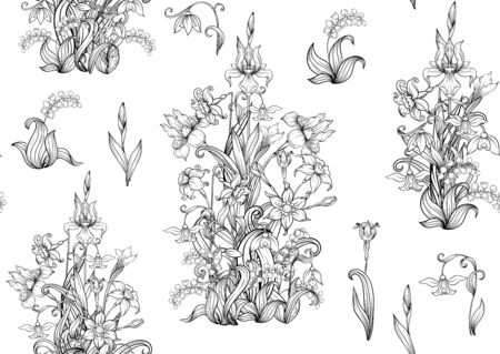 Spring flowers. Narcissus, Iris flower, lily of the valley, may-lily, Seamless pattern, background. Outline hand drawing vector illustration. In art nouveau style, vintage, old, retro style