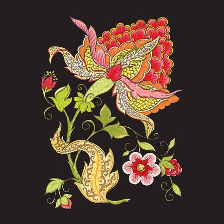 Elements for design. Fantasy flowers, traditional Jacobean embroidery style. Embroidery imitation. Vector illustration in red and green colors isolated on black background.. Ilustrace