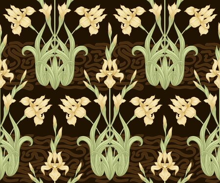Iris flower, fleur-de-lis, flower-de-luce, flag. Seamless pattern, background. Colored vector illustration. In art nouveau style, vintage, old, retro style In yellow and chocolate brown colors..