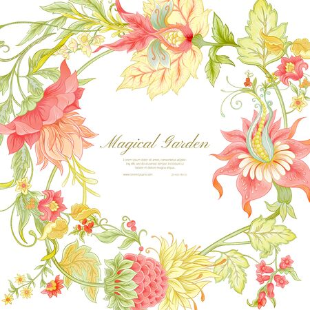 Fantasy flowers in retro, vintage, jacobean embroidery style. Pattern, background. Template for wedding invitation. Colored vector illustration