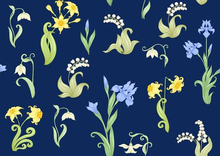 Spring flowers. Narcissus, Iris, lily of the valley, may-lily, Seamless pattern, background. Vector illustration. In art nouveau style, vintage, old, retro style. On navy blue background..