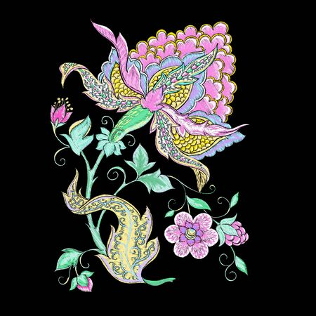 Elements for design. Fantasy flowers, traditional Jacobean embroidery style. Embroidery imitation. Vector illustration in neon colors isolated on black background..