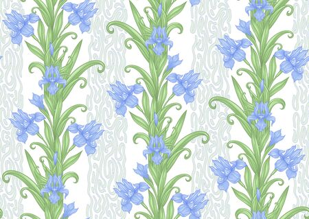 Iris flower, fleur-de-lis. Seamless pattern, background. Colored vector illustration. In art nouveau style, vintage, old, retro style. In blue and green colors. Isolated on white background..