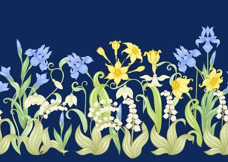 Frühlingsblumen. Narzisse, Iris, Maiglöckchen, Maililie, nahtloses Muster, Hintergrund. Vektor-Illustration. Im Jugendstil, Vintage, Alt, Retro-Stil. Auf marineblauem Hintergrund..