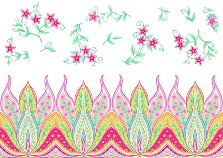 Fantasy flowers, traditional Jacobean embroidery style. Seamless pattern, background. Vector illustration in bright pink and green colors isolated on white background..