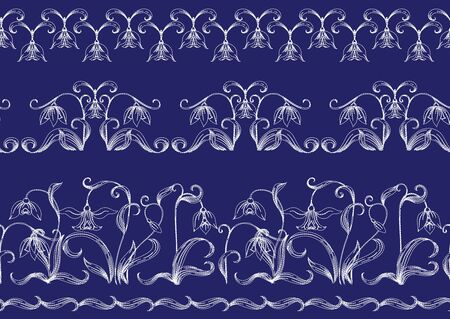 Galanthus, snowdrop. Imitation of traditional Japanese embroidery Sashiko. Spring flowers. Seamless pattern, background. Vector illustration. On navy blue background..