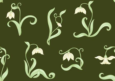 Galanthus, bucaneve, nivalis. Modello senza cuciture, sfondo. Illustrazione vettoriale colorata in stile art nouveau, vecchio stile retrò vintage su sfondo verde militare