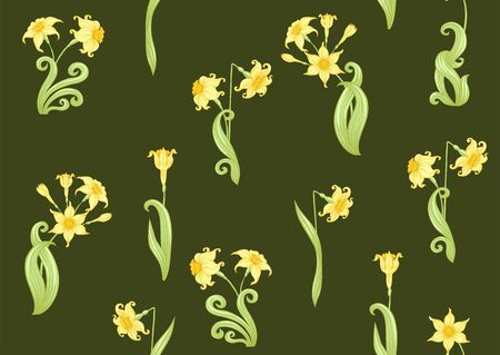 Narcissus. Seamless pattern, background. Colored vector illustration. In art nouveau style, vintage, old, retro style. In soft yellow colors. On army green background.. 向量圖像