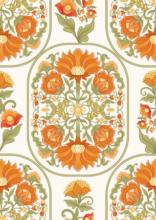 Tradition mughal motif, fantasy flowers in retro, vintage style. Seamless pattern, background. Vector illustration in beige and orange colors. Ilustracja